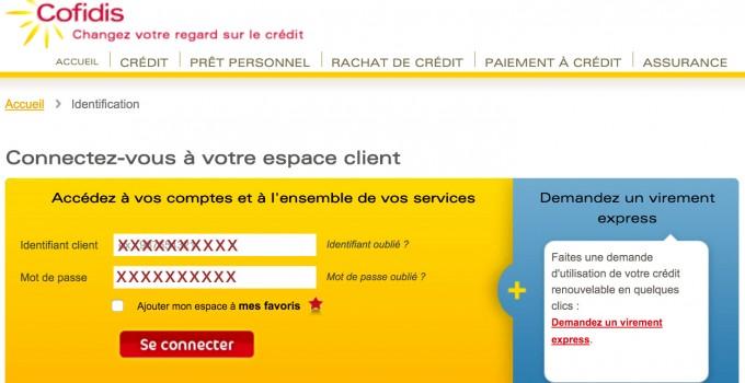 Espace client Cofidis