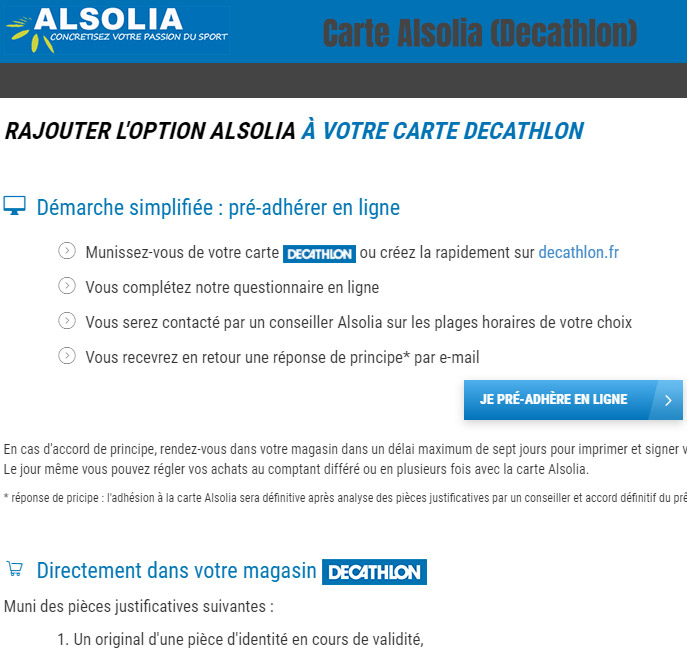 Avantages carte Alsolia Decathlon