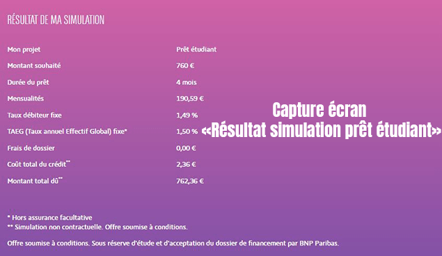 resultat simulation credit etudiant