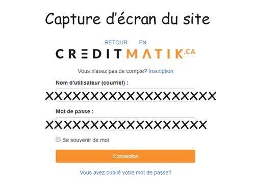 Crédit Matik accès client