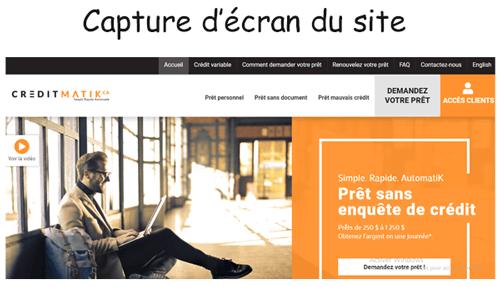 Consulter le site creditmatik.ca